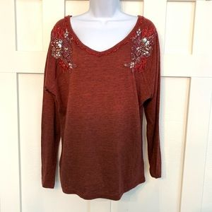 Miss Me Embellished Maroon V-Neck Long Sleeve Tee